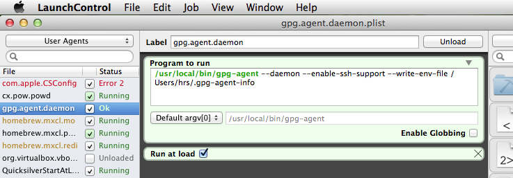 LaunchControl for gpg-agent